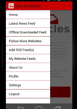 Inbox My Articles Android RSS Reader with Offline Capability